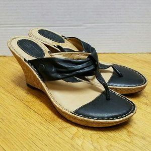 Born women's size 9 cork wedge sandals shoes